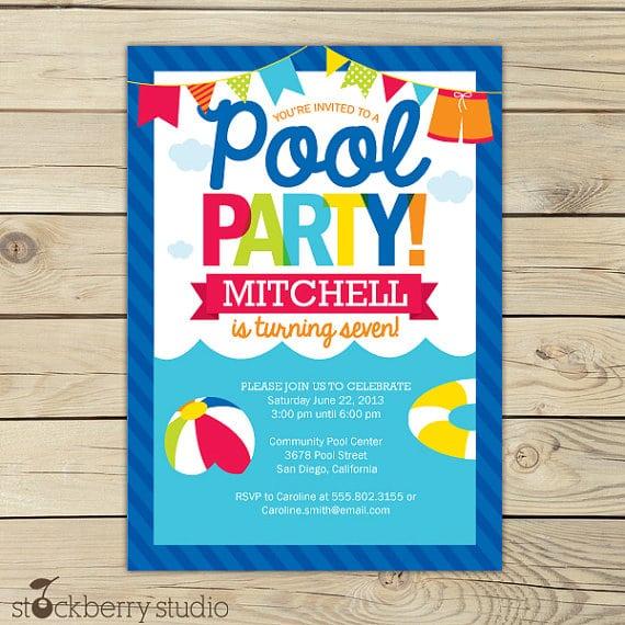 Free Pool Birthday Party Invitation