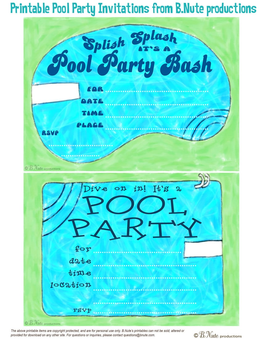 printable pool party birthday invitations com pool party birthday invitations printable