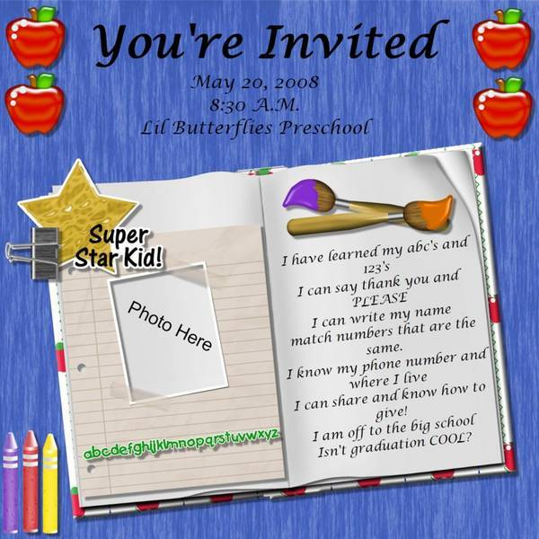 Free Preschool Graduation Invitation Ideas