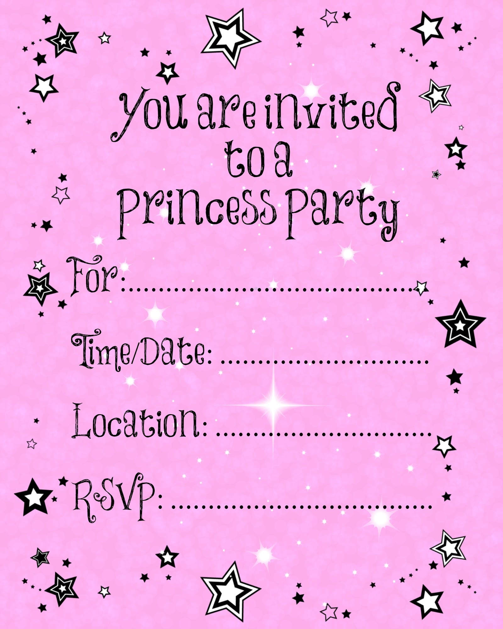 princess party invitation printable