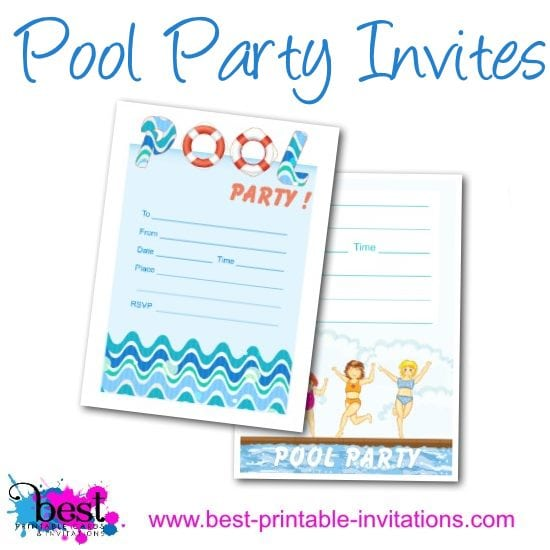 Free Printable Adult Pool Party Invitation
