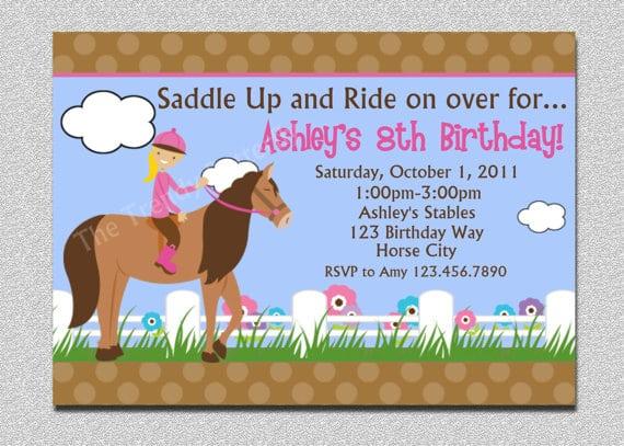 Free Printable Birthday Horse Invitation