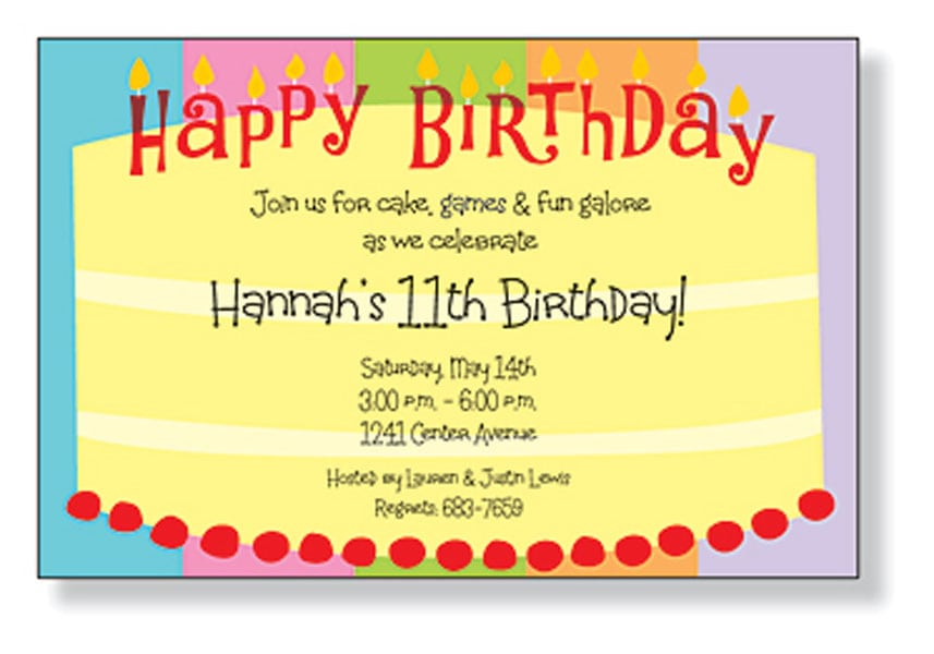 Free Printable Childrens Birthday Invitation Cards