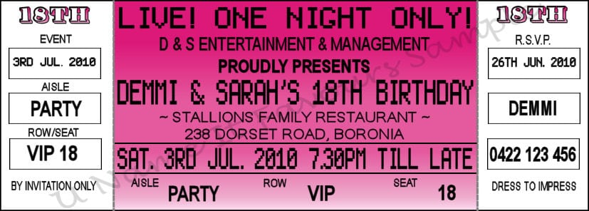 how to make a concert ticket for a birthday invitation