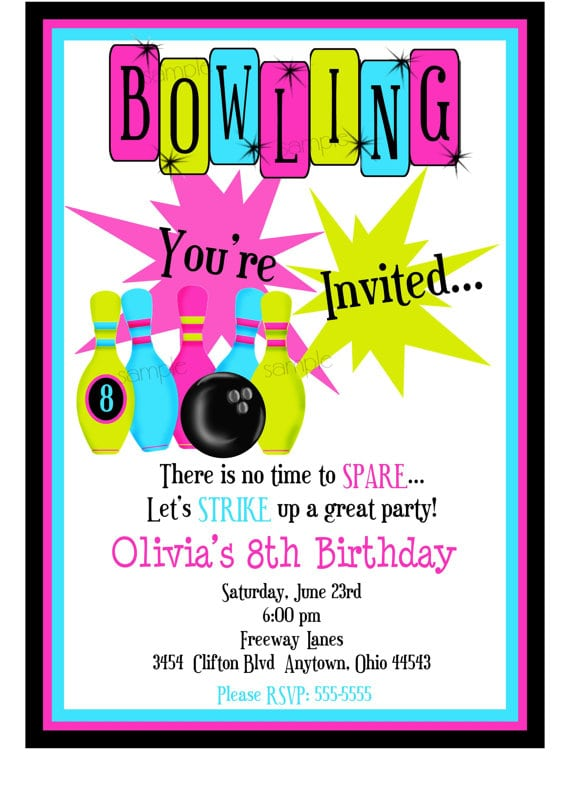 Free Printable Cosmic Bowling Invitations