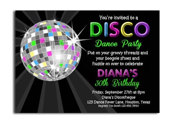 free printable disco party invitation, Birthday invitations