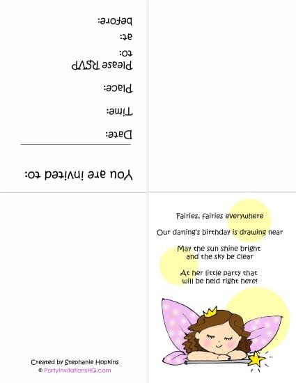 Free Printable Fairy Birthday Invitations