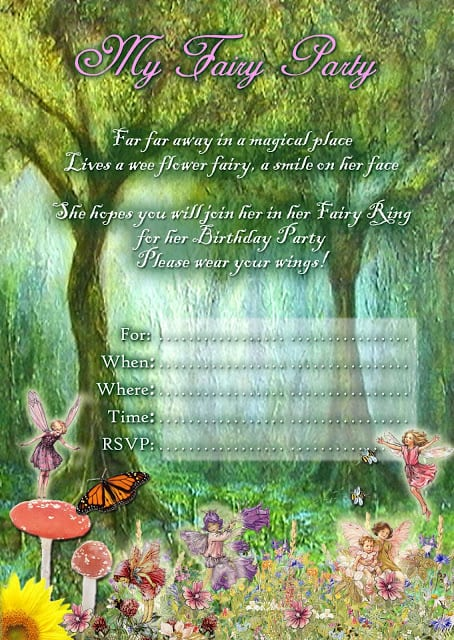 Free Printable Fairy Birthday Party Invitations