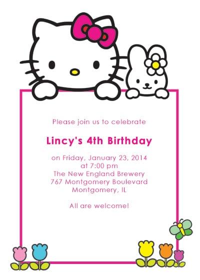 Free Printable Hello Kitty Birthday Invitation Card