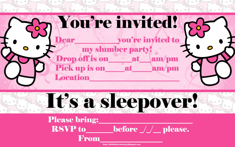 printable hello kitty birthday invitation