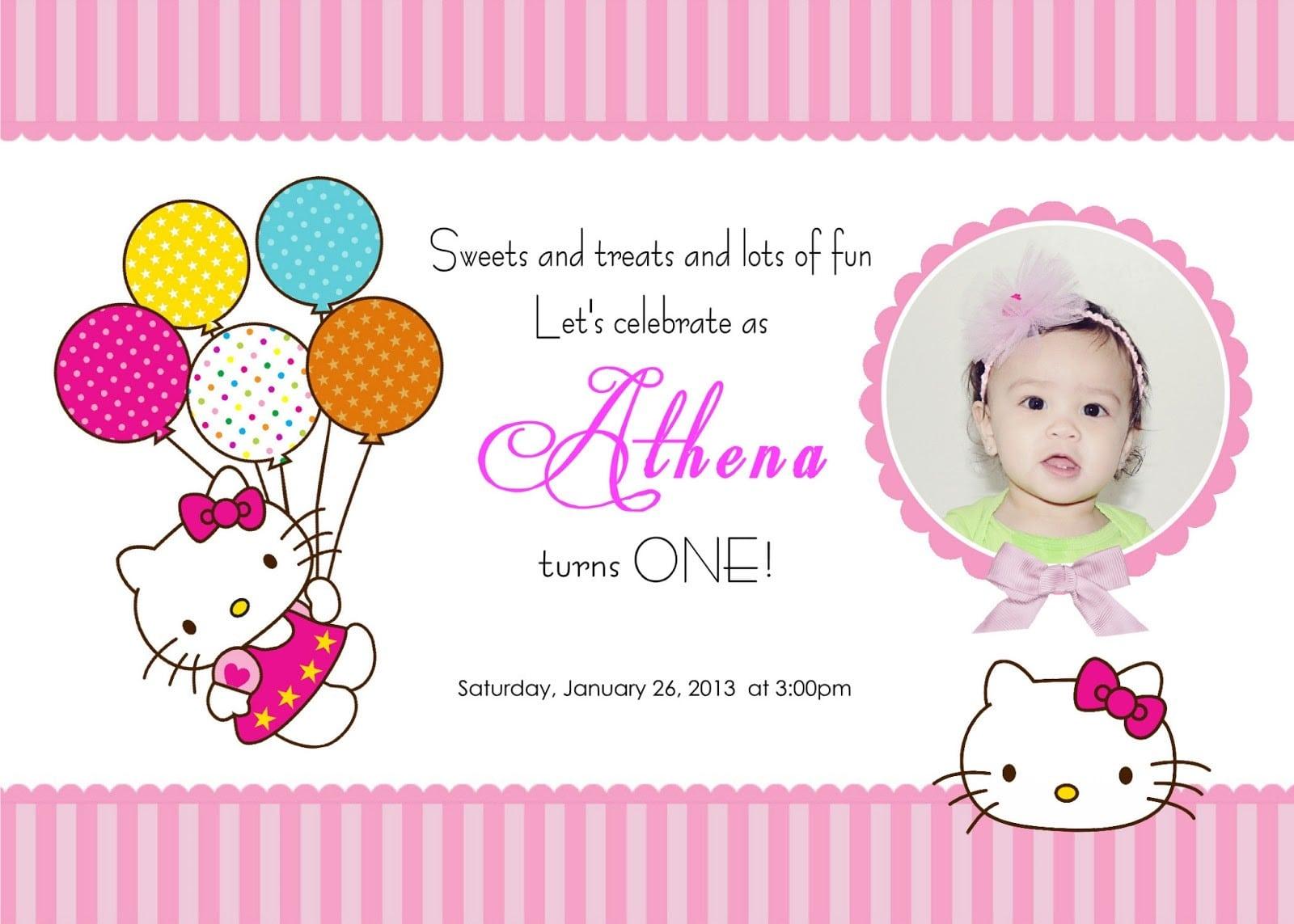 Free Printable Hello Kitty Invitation Party Template