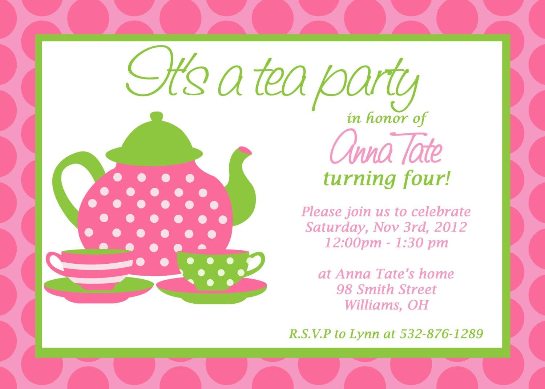 Free Printable High Tea Party Invitation