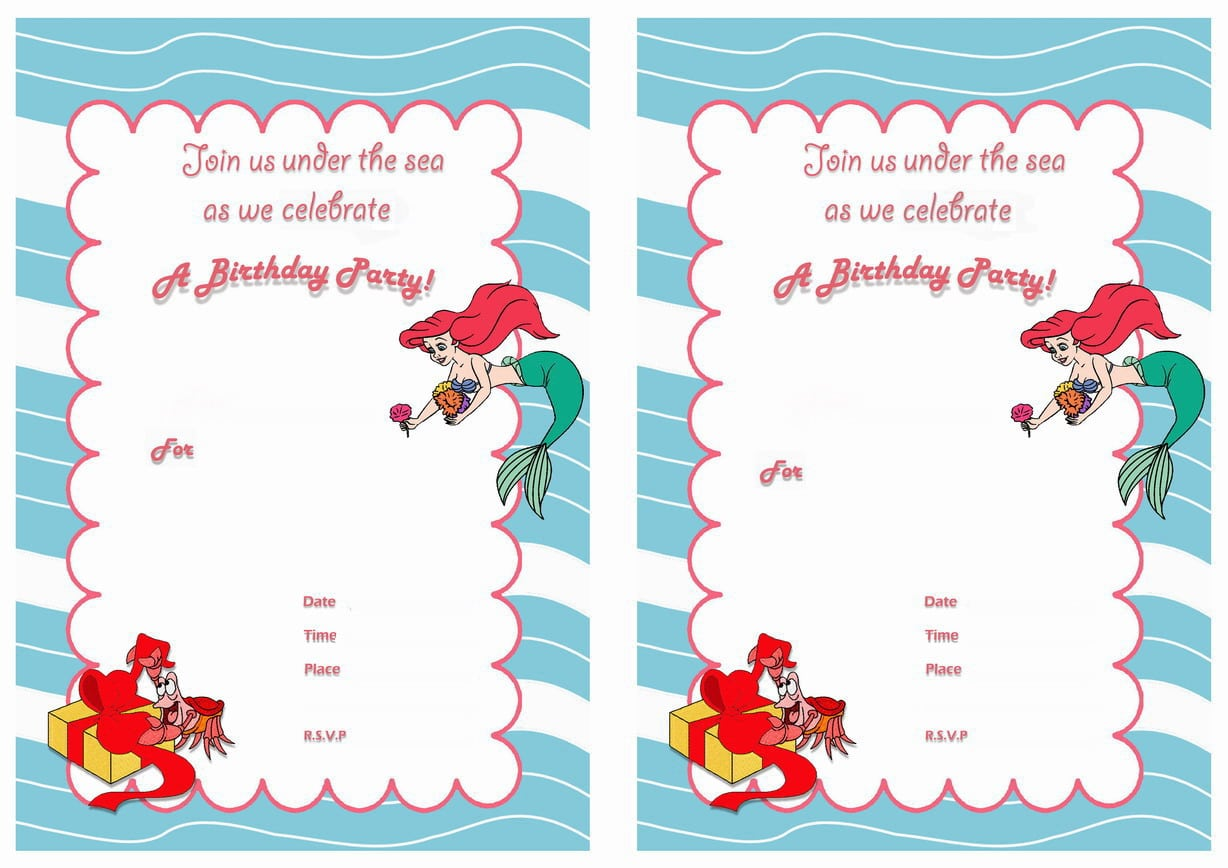 Genius image intended for little mermaid invitations free printable