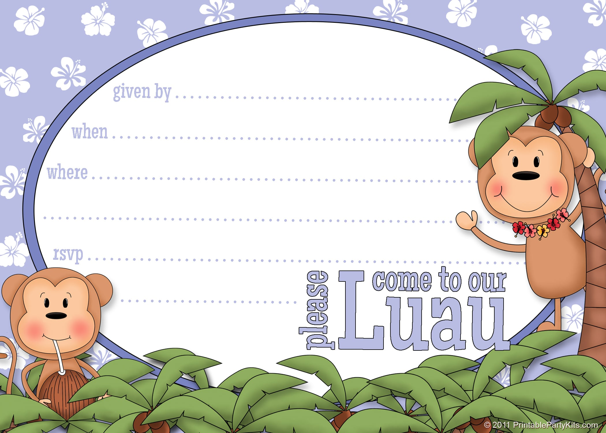 Free Printable Luau Party Invitation Template