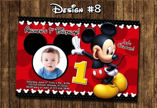 Free Printable Mickey Mouse 1st Birthday Party Invitations