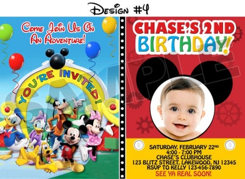 Free Printable Mickey Mouse Clubhouse Birthday Party Invitations