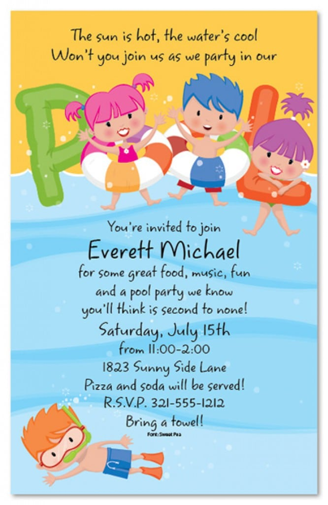 Free Printable Pool Party Invitation For Kids