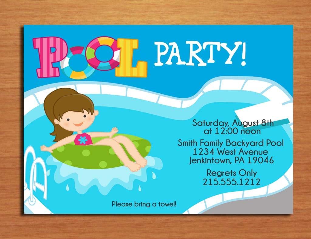 Free Printable Pool Party Invitation Kids