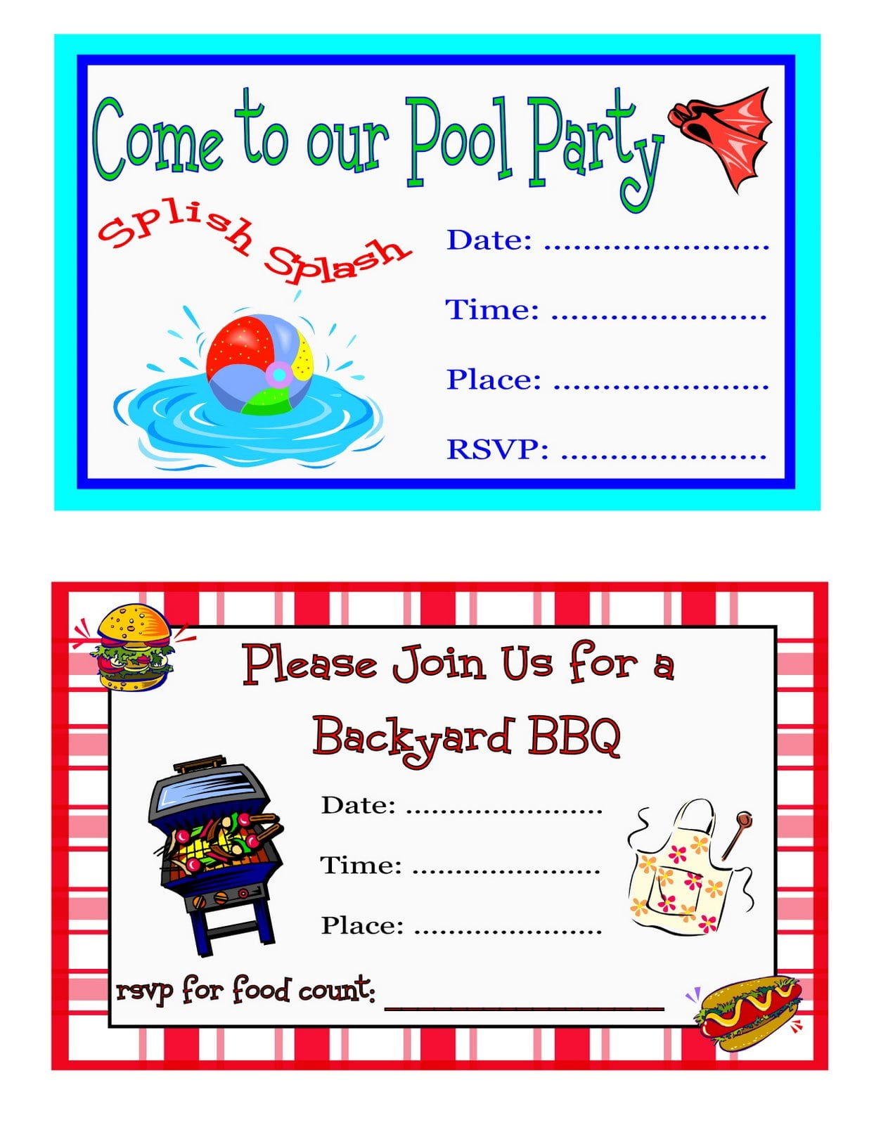 Free Printable Pool Party Invitation Templates