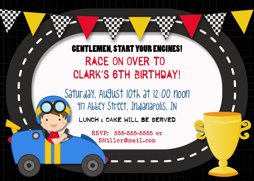 Free Printable Race Car Party Invitations