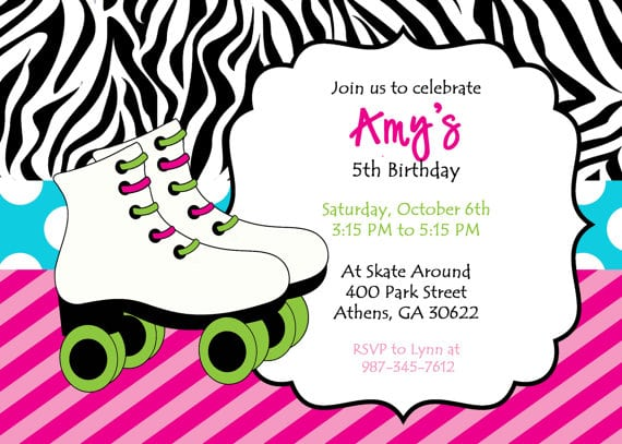Free Printable Roller Skate Party Invitations