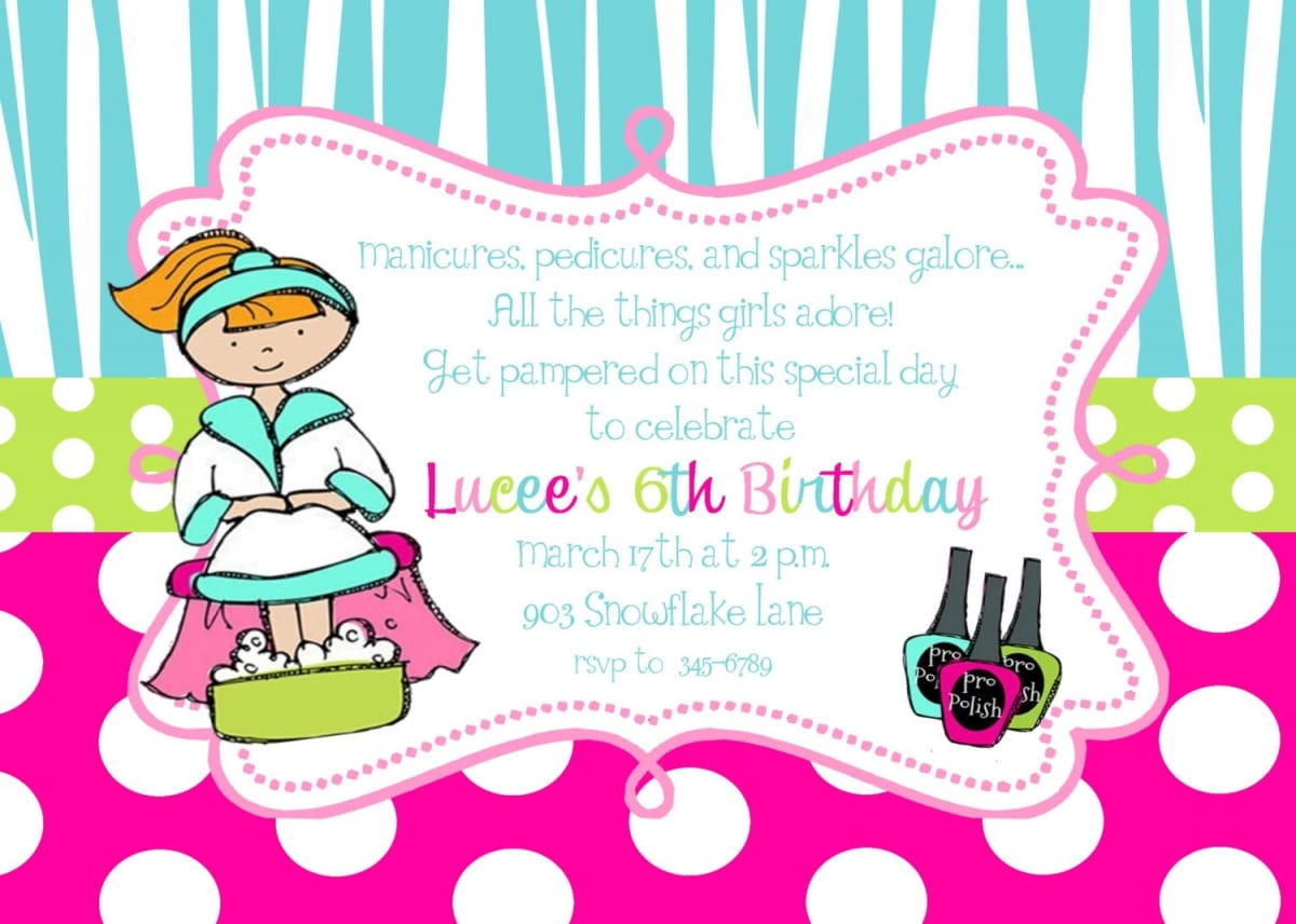 Free printable spa birthday party invitation filmwisefo Image collections