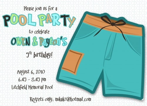 Free Printable Swimming Birthday Party Invitations