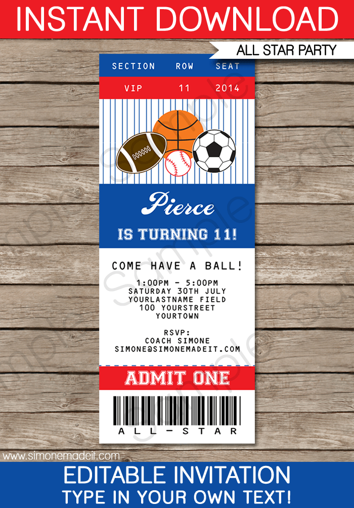 Free Printable Ticket Template Invitations
