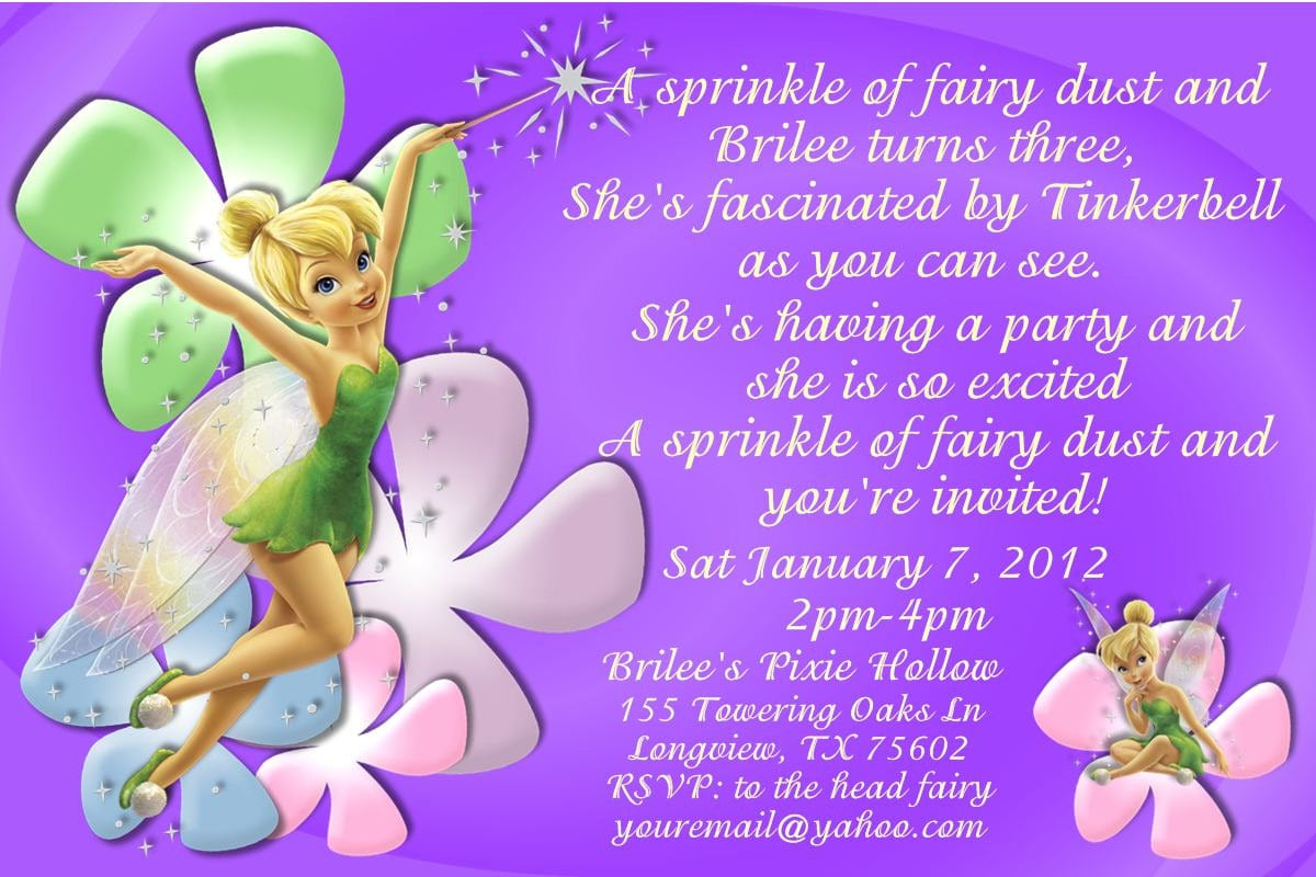 Free Printable Tinkerbell Baby Shower Invitation