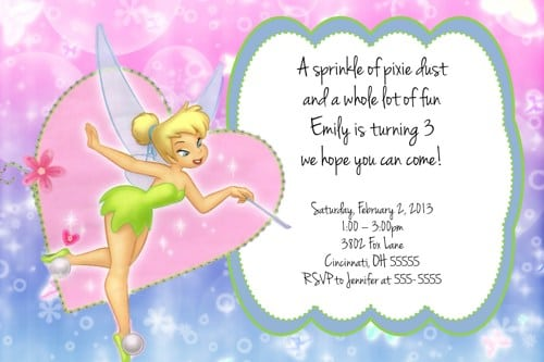 Free Printable Tinkerbell Invitation Cards