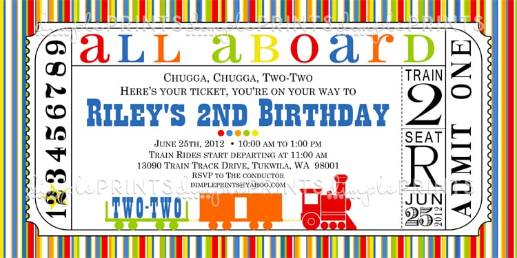 Free Printable Train Ticket Birthday Invitation