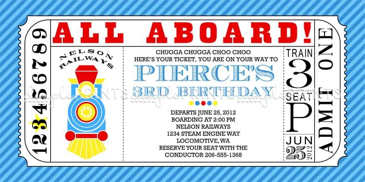 Free Printable Train Ticket Birthday Invitation – Free Ticket Invitation Template