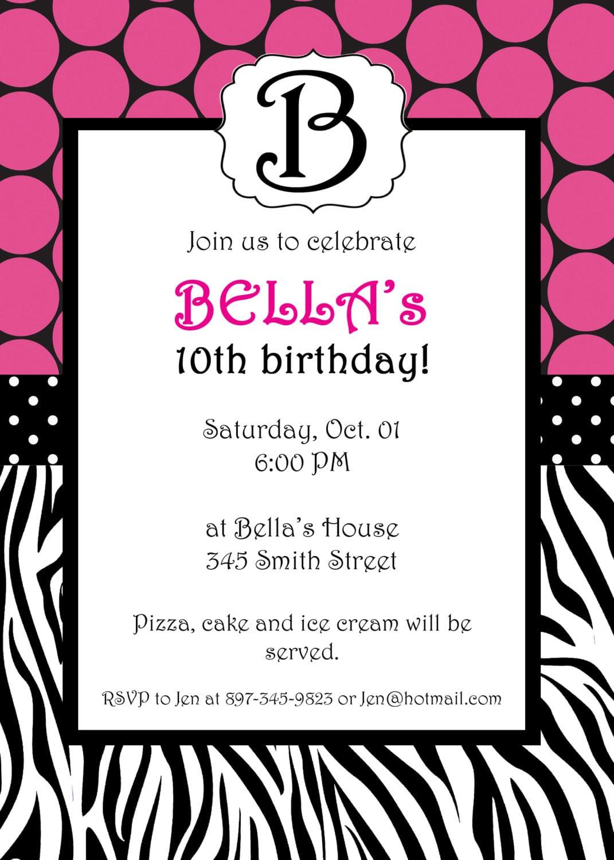 Free Printable Zebra Invitation Templates
