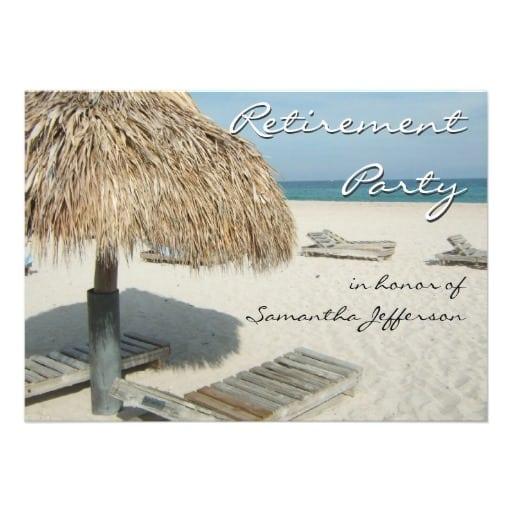 Free Retirement Beach Theme Invitation Template
