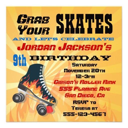 Free Roller Skating Birthday Party Invitation