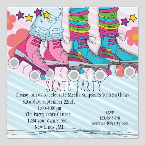 Free Roller Skating Birthday Party Invitations