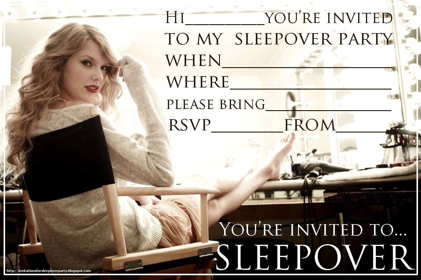 Free Sleepover Invitations To Print