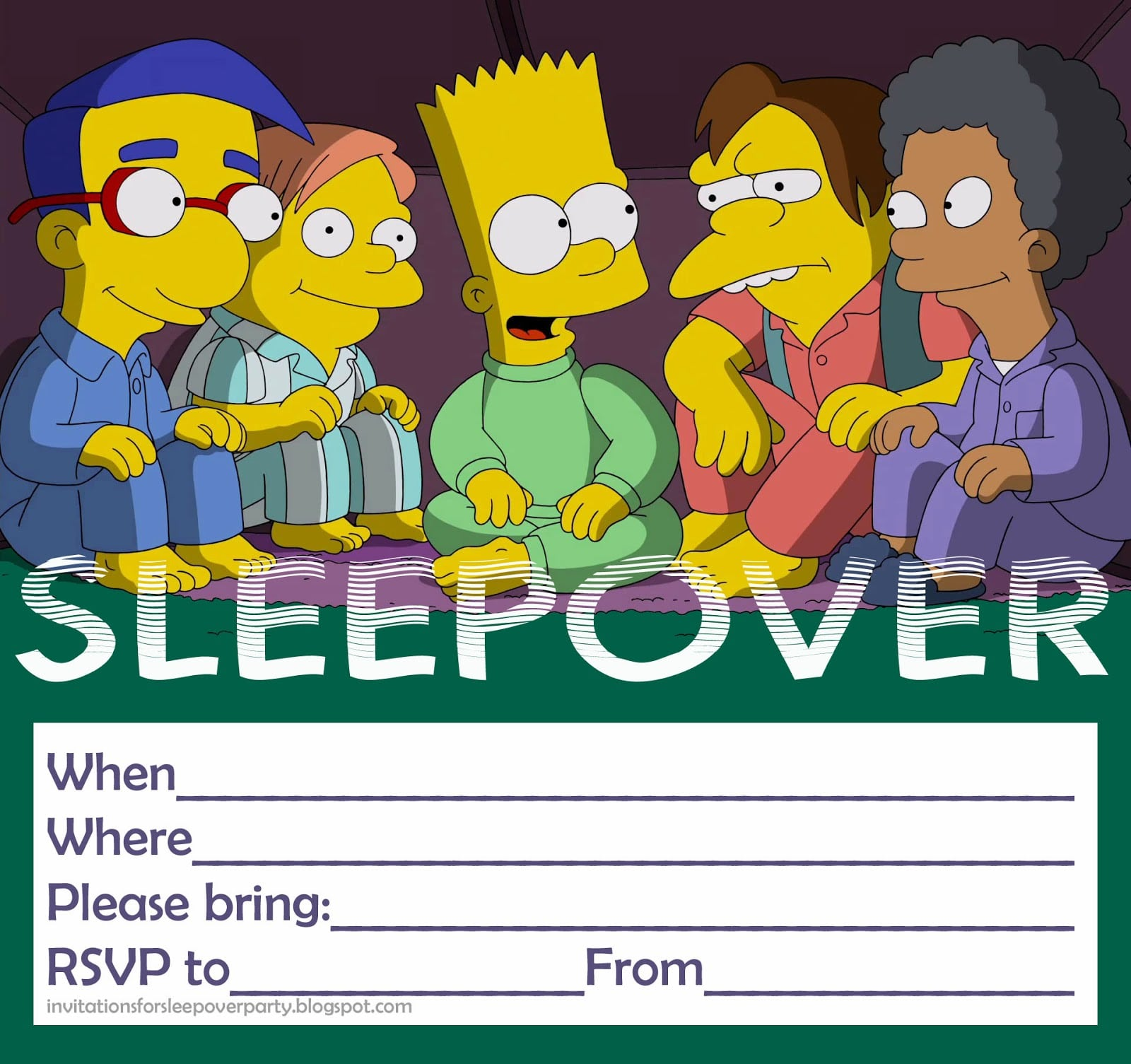Free Sleepover Invitations Uk