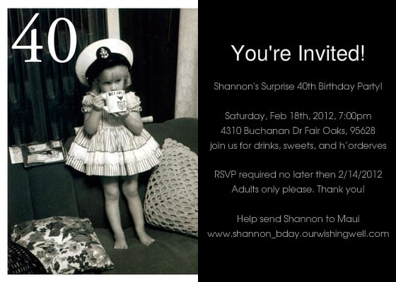 Free Template For 40th Birthday Invitation