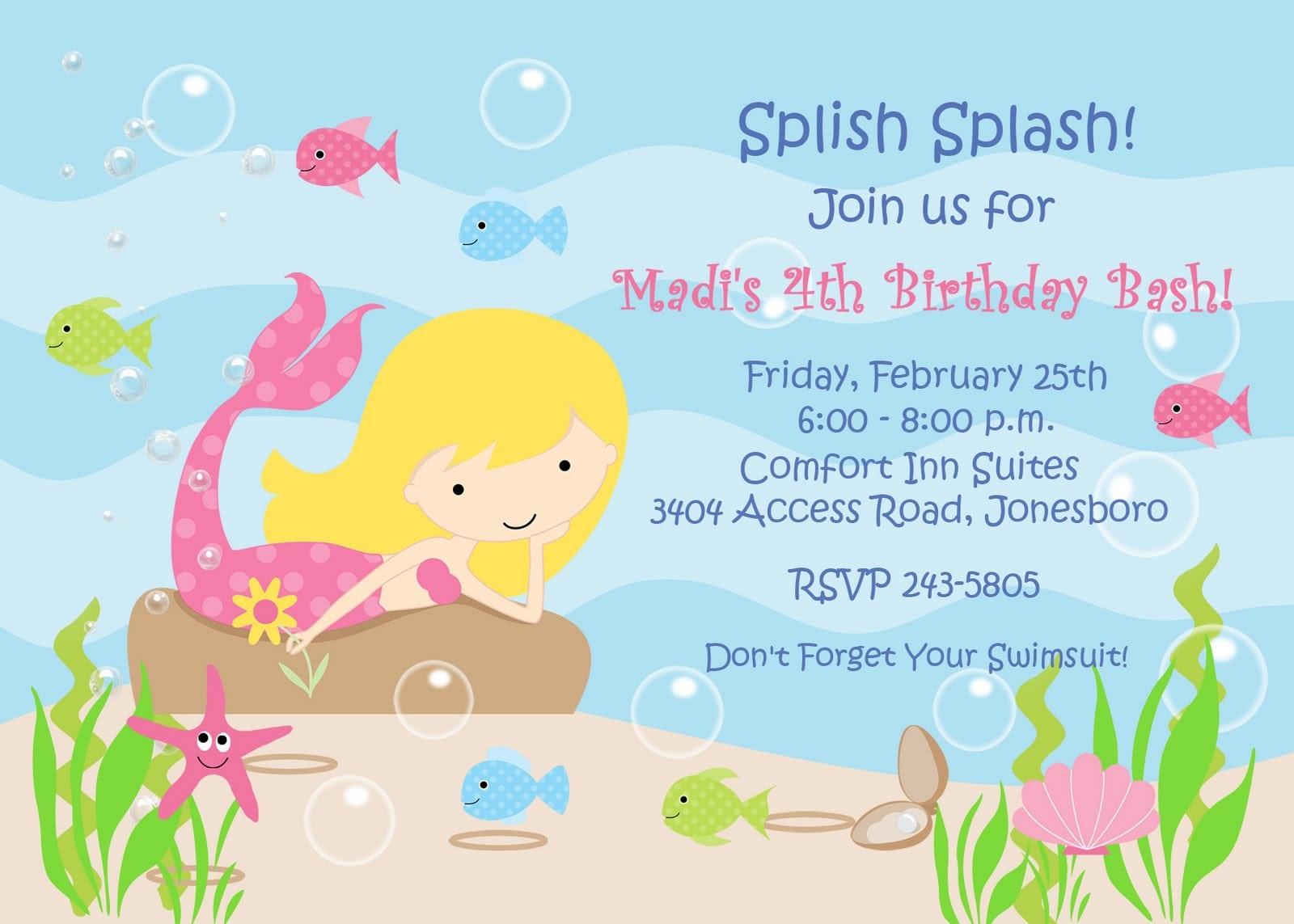 Free Template Mermaid Party Invitation