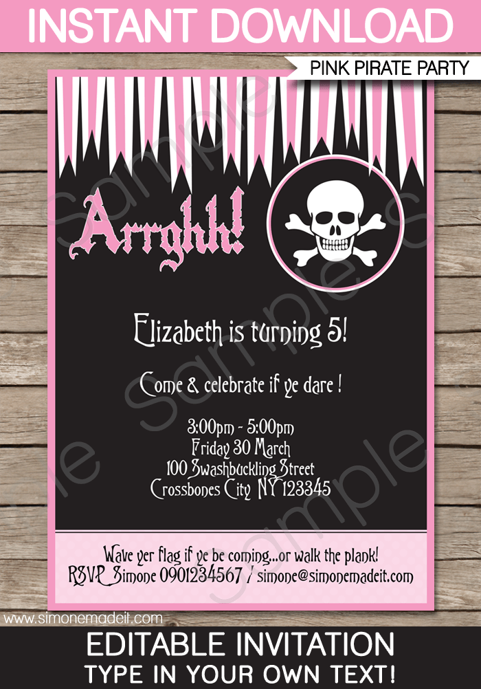 Girl Pirate Birthday Party Invitations