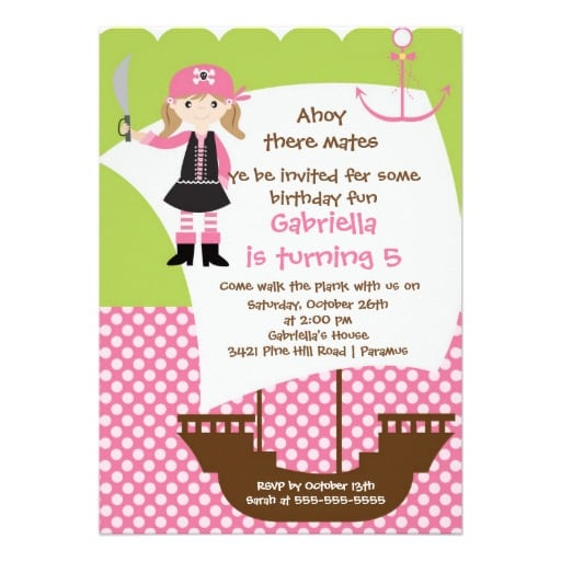 Girl Pirate Party Invitation