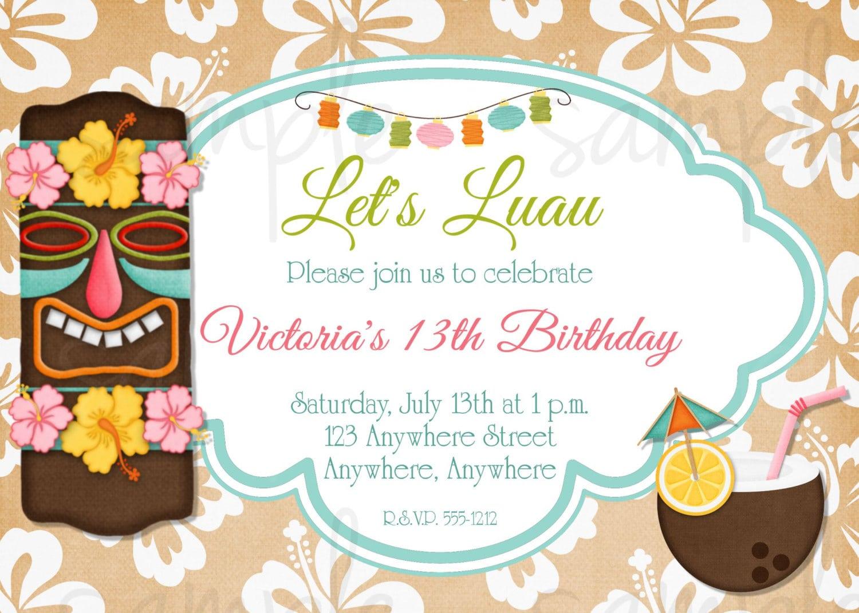 Hawaiian Birthday Invitation Templates Free
