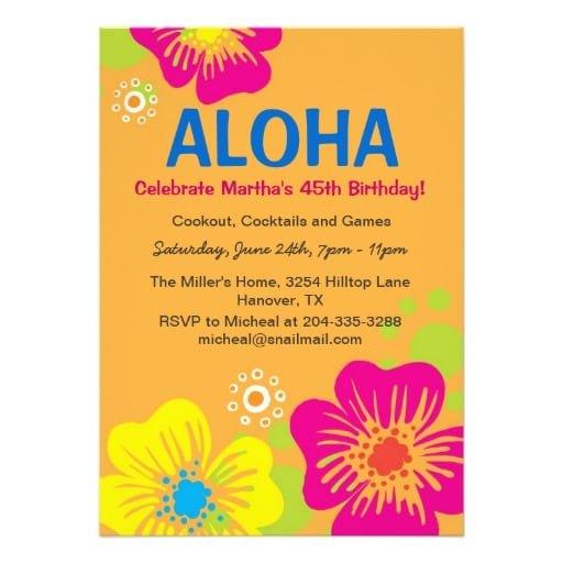Hawaiian Birthday Invitations Free