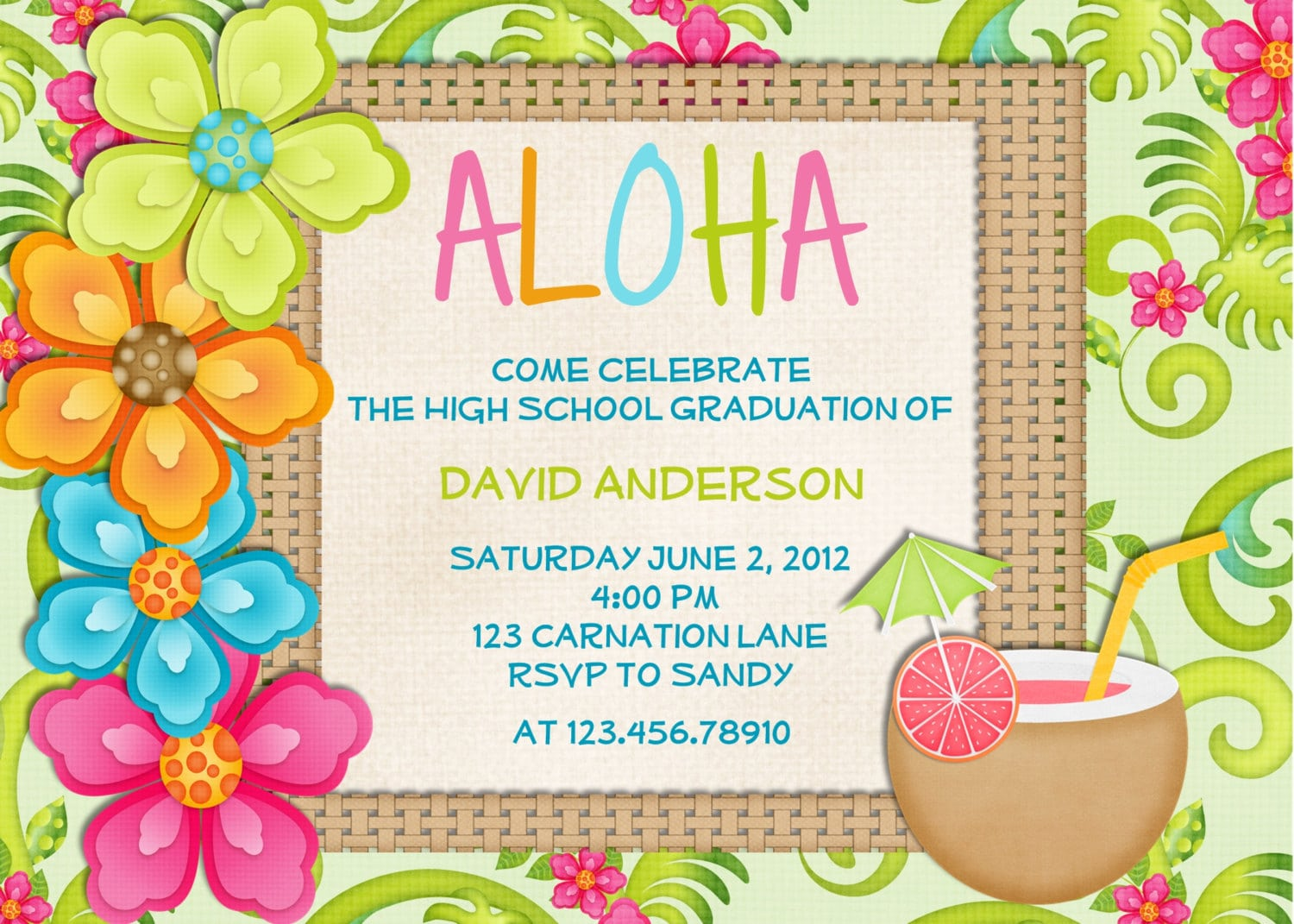 Hawaiian Party Invitations Printable Free