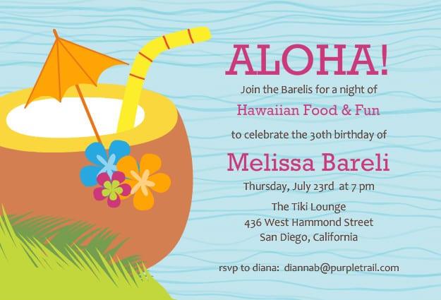 Hawaiian Theme Party Invitation Templates