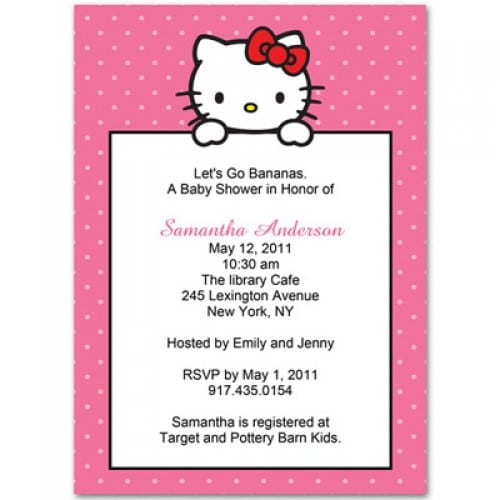 Hello Kitty Baby Shower Invitation Free