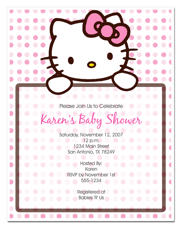 Hello Kitty Baby Shower Invitations Free