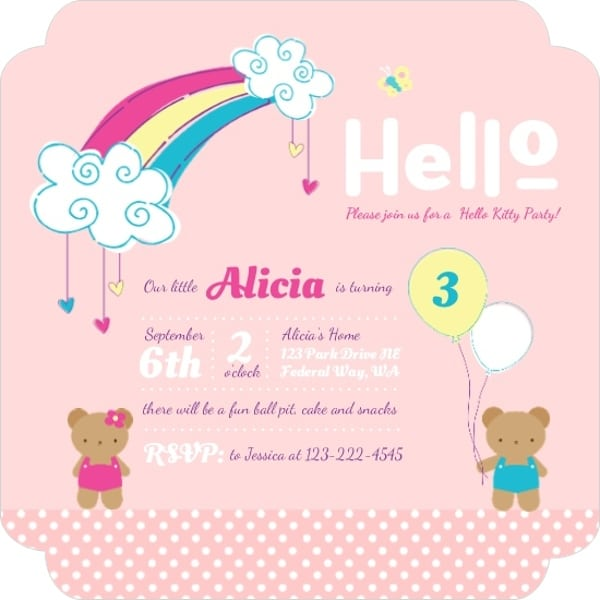 Hello Kitty Birthday Invitation Wording