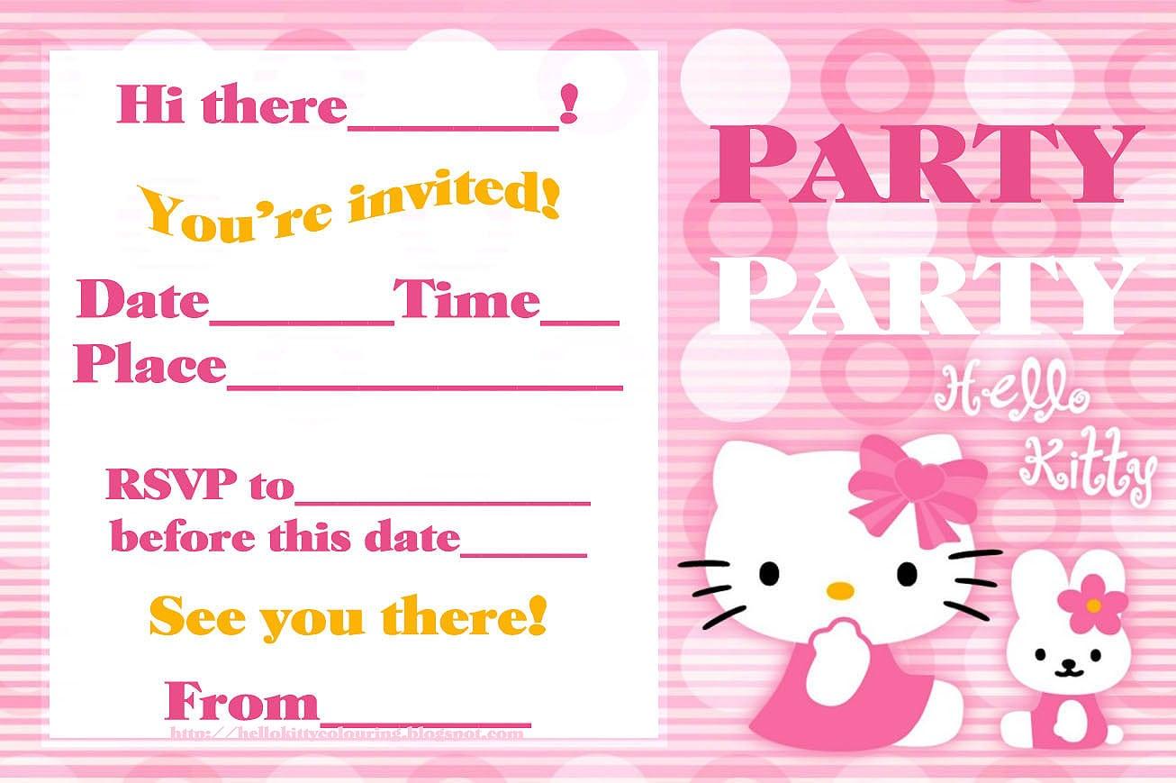Hello Kitty Party Invitations To Print